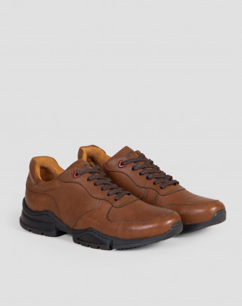 کفش روزمره قهوه ای بندی با چرم طبیعی18444176