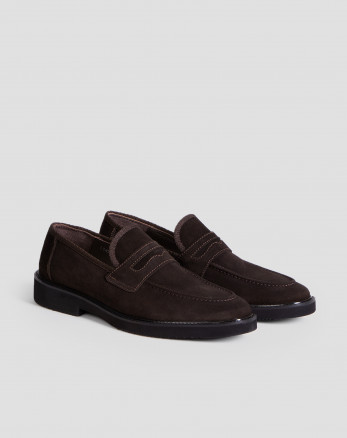 خرید کفش رسمی کالج مردانه جیر چرم طبیعی قهوه ای 18443147
