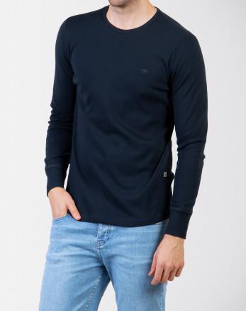 خرید اینترنتی تیشرت آستین بلند مردانه اسلیم ساده سرمه ای 18328107