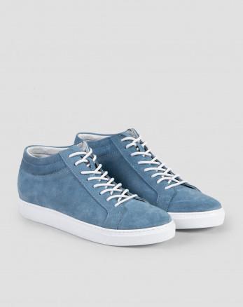 خرید اینترنتی کفش نیم بوت مردانه چرم آبی 19370108