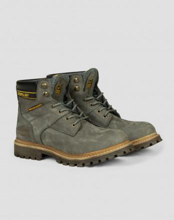 کفش بوت روزمره بنددار با چرم طبیعی خاکستری  19373101