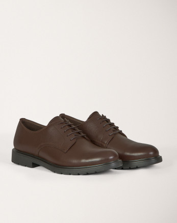 خرید اینترنتی کفش رسمی مردانه چرم طبیعی بندی قهوه ای 19443150