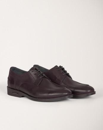 خرید اینترنتی کفش رسمی مردانه چرم طبیعی بندی بفش تیره 18243125