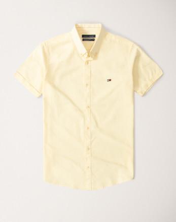 پیراهن آستین کوتاه مردانه نخی لیمویی 20122117