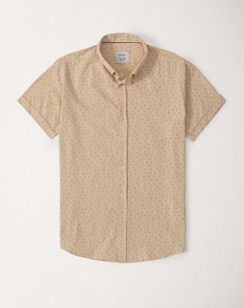 پیراهن آستین کوتاه مردانه نخی کرم 20123207