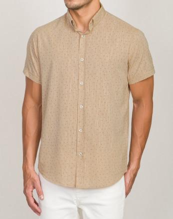 خرید اینترنتی پیراهن آستین کوتاه مردانه نخی کرم 20123207