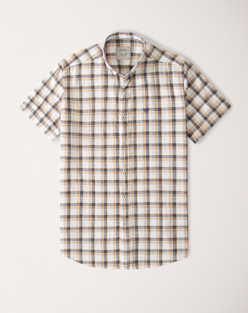 پیراهن آستین کوتاه مردانه چهارخانه نارنجی   20223218
