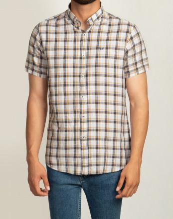 خرید  اینترنتی پیراهن آستین کوتاه مردانه چهارخانه نارنجی   20223218