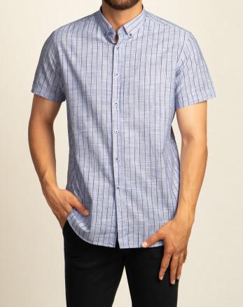پیراهن مردانه آستین کوتاه روزمره نخی  آبی 20223220