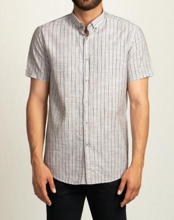 پیراهن مردانه آستین کوتاه روزمره نخی  خاکستری روشن 20223220