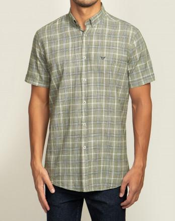 خرید پیراهن مردانه آستین کوتاه  طرح دار روزمره نخی یقه معمولی سبز  20223219