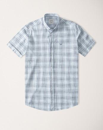 پیراهن مردانه آستین کوتاه  طرح دار روزمره نخی یقه معمولی ابی   20223219