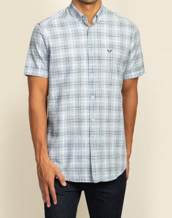 خرید پیراهن مردانه آستین کوتاه  طرح دار روزمره نخی یقه معمولی ابی   20223219