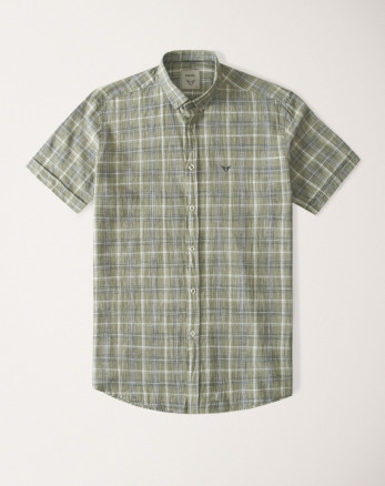 پیراهن مردانه آستین کوتاه  طرح دار روزمره نخی یقه معمولی سبز  20223219