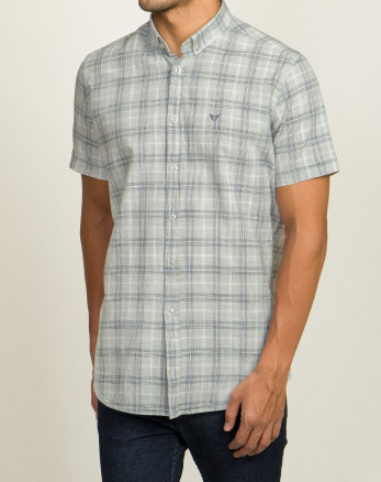خرید اینترنتی پیراهن آستین کوتاه مردانه خاکستری روشن 20223219