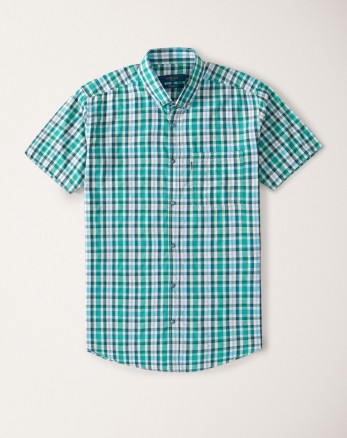 پیراهن سبز چهارخانه شیک 20223237