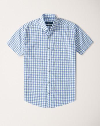 پیراهن مردانه آستین کوتاه  طرح دار روزمره نخی یقه معمولی آبی روشن 20223232