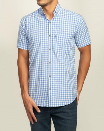 خرید پیراهن مردانه آستین کوتاه  طرح دار روزمره نخی یقه معمولی آبی روشن 20223232
