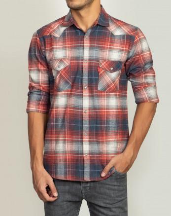 پیراهن  مردانه آستین بلند چهارخانه قرمز  20252146