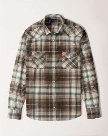 پیراهن  مردانه آستین بلند چهارخانه قهوه ای روشن 20252146