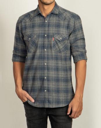 خرید پیراهن مردانه آستین بلند چهارخانه خاکستری 20252147